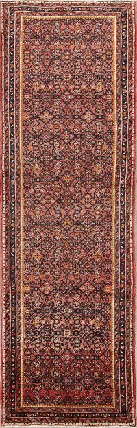 All-Over Floral Hamedan Persian Runner Rug 4x11