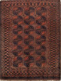 Brown Antique Geometric Balouch Oriental Area Rug 7x10