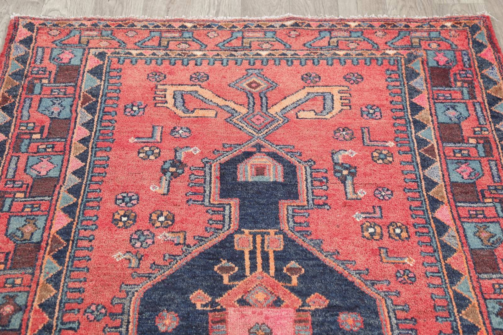 Geometric Red Hamedan Persian Hand-Knotted Area Rug Wool 4x7