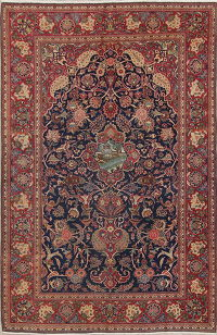 Antique Floral Kashan Dabir Persian Area Rug 4x7