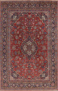 Pre-1900 Floral Kashan Dabir Persian Antique Area Rug 11x16