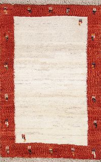 Modern Ivory Gabbeh Shiraz Persian Hand-Knotted Area Rug Wool 3x4