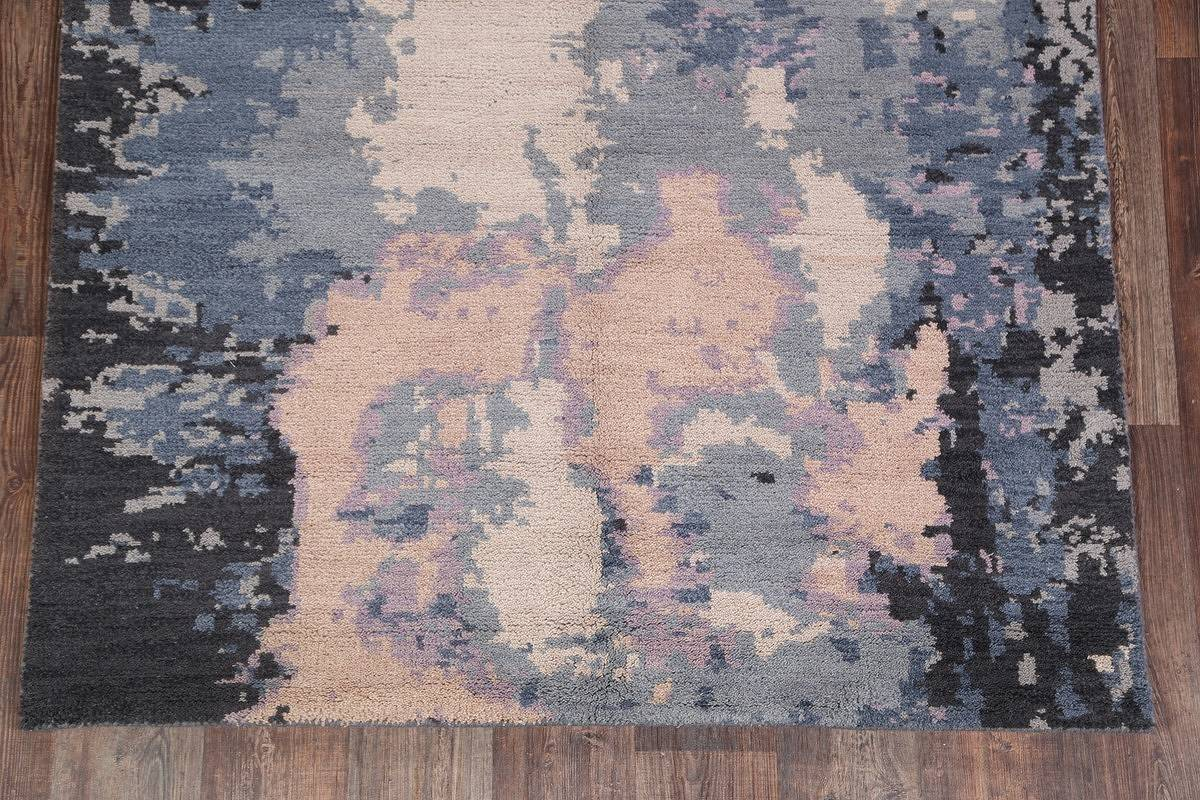 Blue Modern Abstract Moroccan Oriental Area Rug 5x8