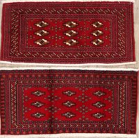 2 Pieces Of Geometric Turkoman Persian Rug 2x4