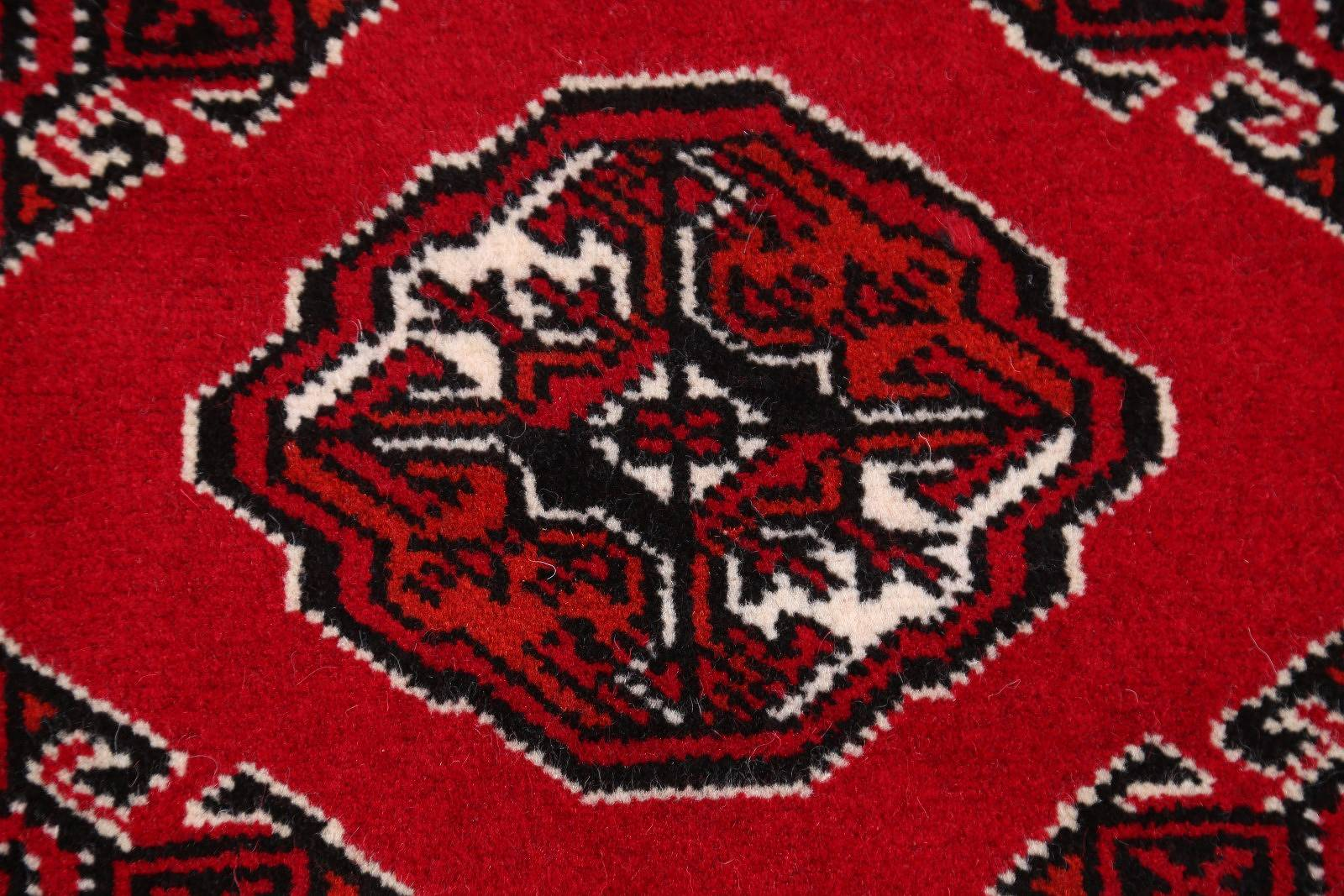 Red Geometric Balouch Bokhara Persian Wool Rug 3x5