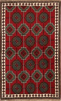 Geometric Red Wool Balouch Persian Area Rug 4x6