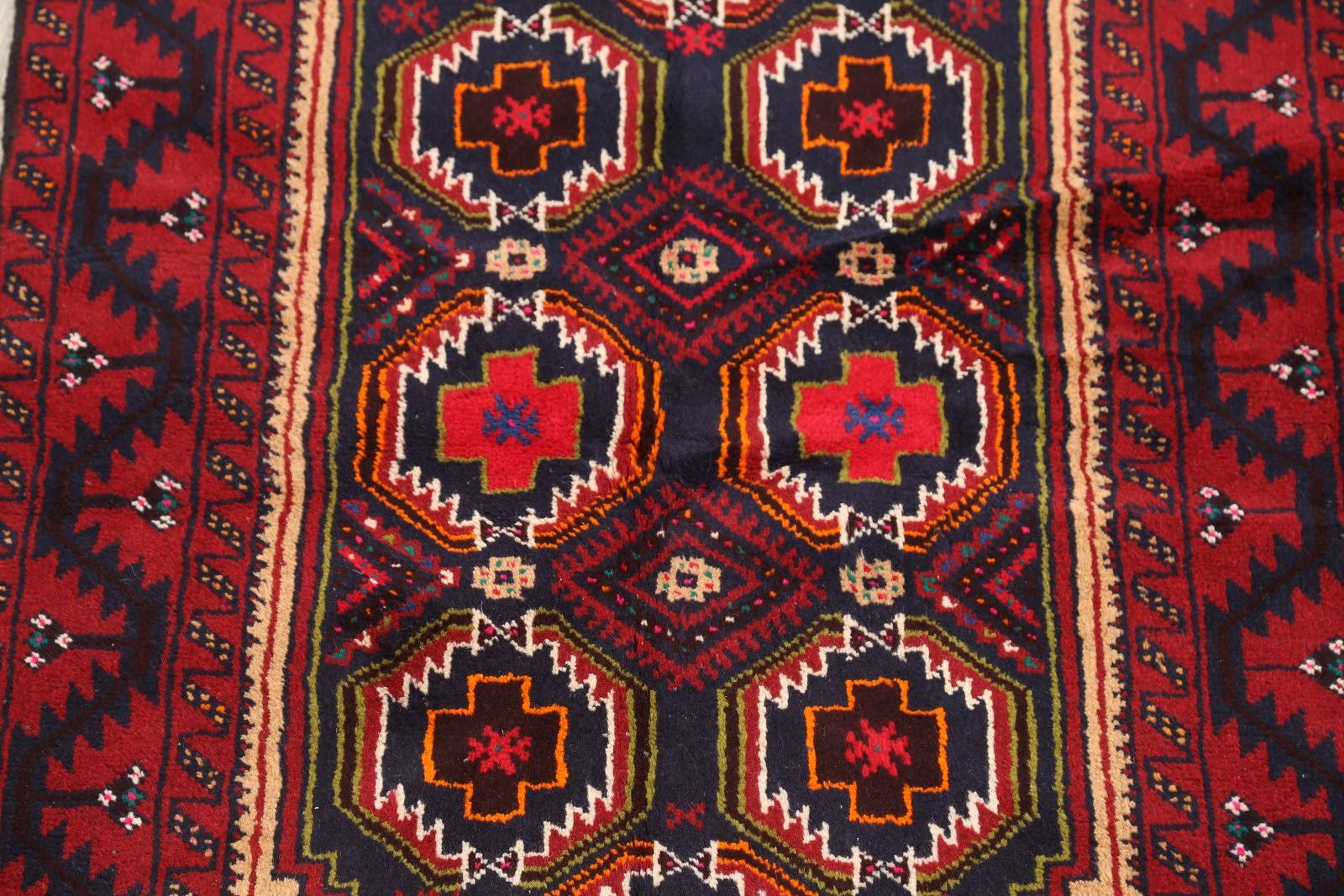 Geometric Blue Wool Balouch Persian Runner Rug 3x6