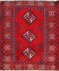 Red Turkoman Bokhara Persian Area Rug 2x3