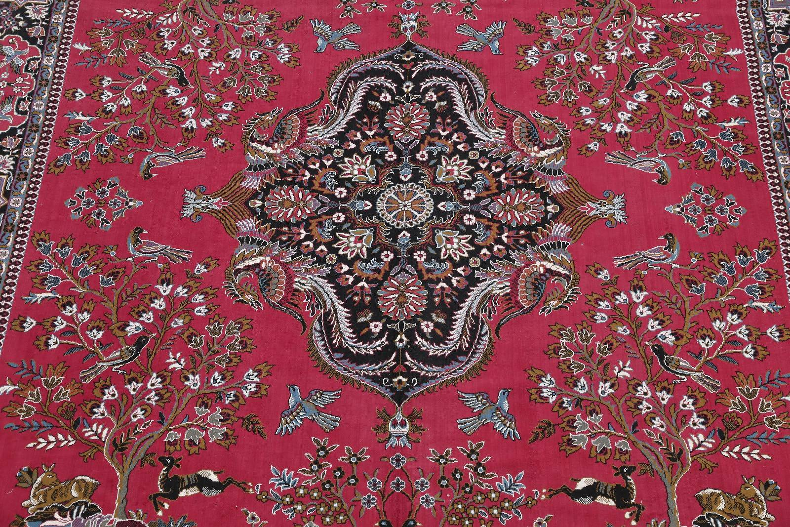 Pictorial Floral Red Kashmar Pictorial Persian Area Rug 10x13