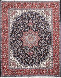 Soft Floral Blue Wool Isfahan Persian Area Rug 10x12