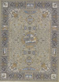 Green Pictorial Kashmar Persian Area Rug 10x13