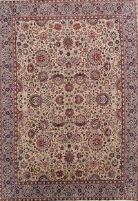 Soft Pile All-Over Isfahan Persian Ivory Area Rug 10x13