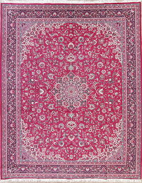 Pink Floral Kashan Persian Area Rug 10x12