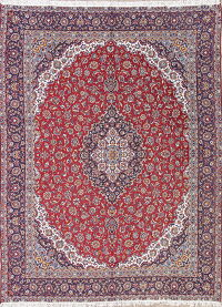 Red Traditional Floral Kashan Persian Area Rug 9x13