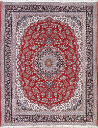Red Floral Isfahan Persian Area Rug 10x12