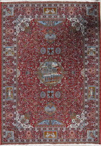 Red Pictorial Geometric Kashmar Persian Area 9x13