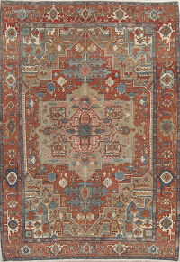 Antique Geometric Heriz Persian Area Rug 9x12