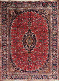 Floral Red Mashad Persian Hand-Knotted Area Rug Wool 8x10