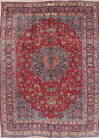 Floral Red Mashad Persian Hand-Knotted Area Rug Wool 8x11