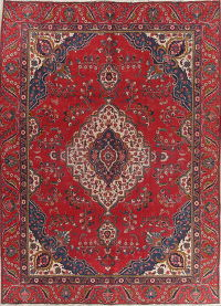 Geometric Red Tabriz Persian Hand-Knotted Area Rug Wool 8x11