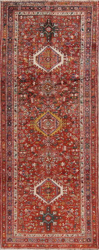 Antique Tribal Geometric Gharajeh Persian Runner Rug 4x11
