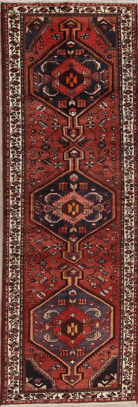 Rust Tribal Geometric Bakhtiari Persian Runner Rug 3x11