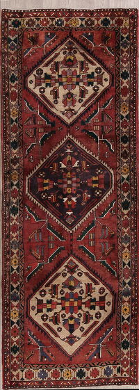 Tribal Geometric Heriz Persian Runner Rug 4x10
