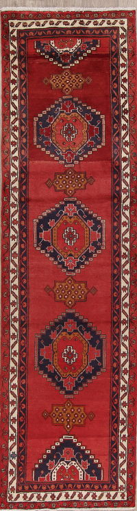Red Geometric Ardebil Persian Runner Rug 3x13