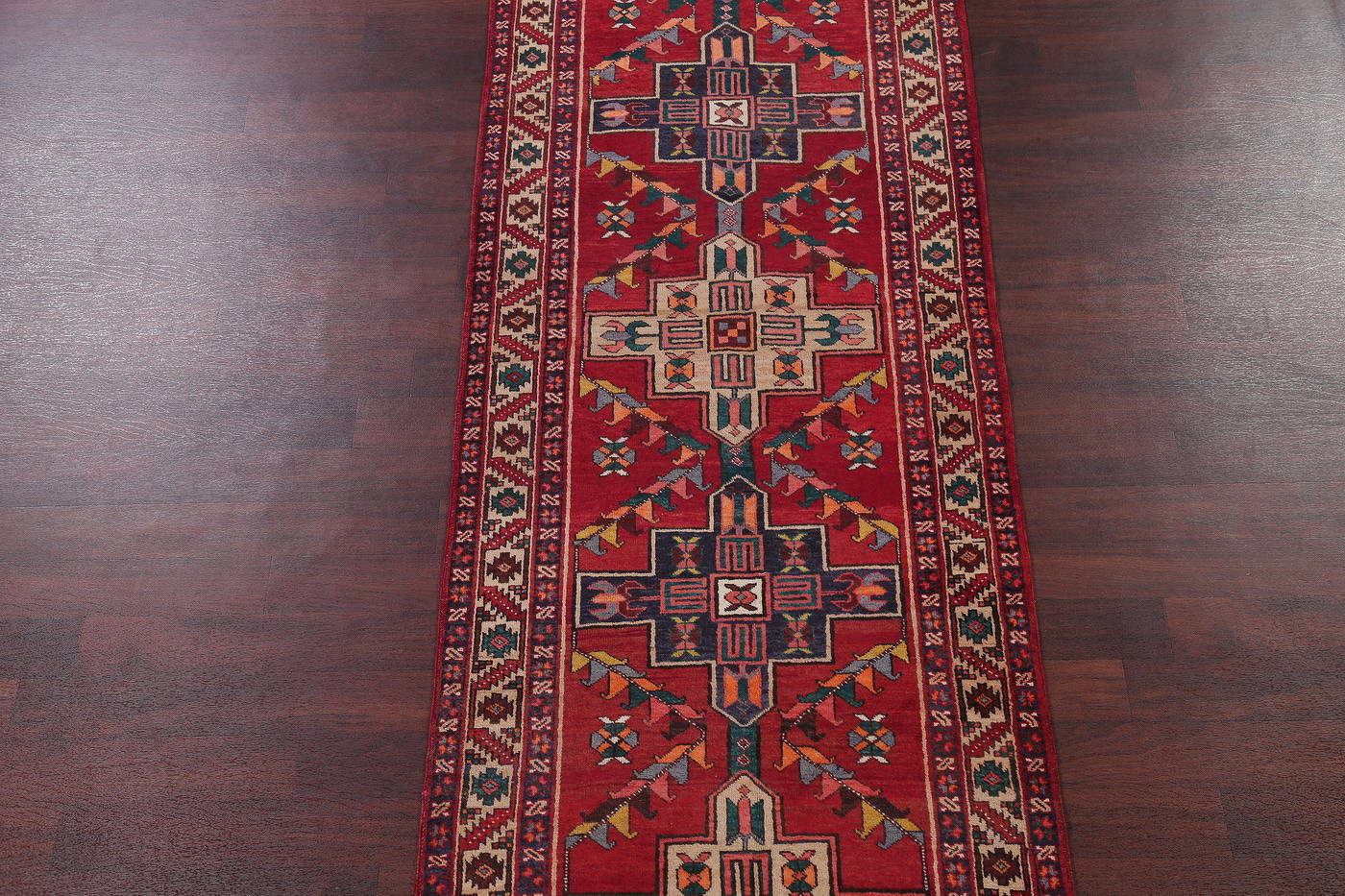 Red Tribal Geometric Heriz Persian Runner Rug 4x14