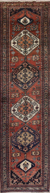 Rust Geometic Heriz Persian Runner Rug 4x14