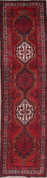 Red Geometric Meshkin Persian Runner Rug 3x12
