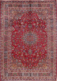 Red Floral Sabzewar Mashad Persian Area Rug 7x10