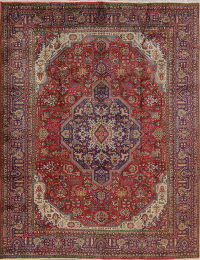 Red Geometric Tabriz Persian Area Rug 8x11