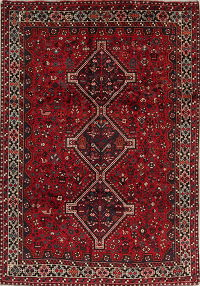 Red Geometric Lori Shiraz Qashqai Persian Area Rug 7x10