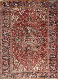 Muted Color Geometric Heriz Persian Area Rug 8x11