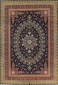 Navy Blue Floral Tabriz Persian Area Rug 8x12