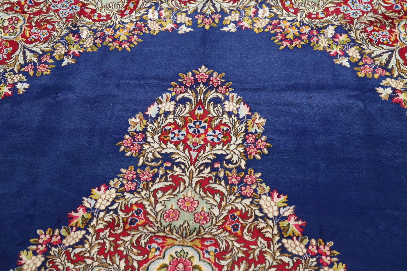 Floral Blue Kerman Persian Hand-Knotted Area Rug Wool 9x12