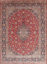 Red Traditional Floral Kashan Persian Area Rug 10x14