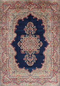 Blue Floral Kerman Persian Area Rug 8x11