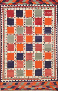Checked Kilim Shiraz Qashqai Persian Modern Area Rug 5x8