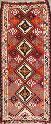 Red Geometric Kilim Shiraz Persian Runner Rug 5x12