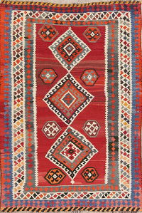 Red Geometric Tribal Kilim Shiraz Persian Area Rug 5x7