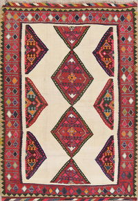 Antique Tribal Kilim Shiraz Persian Area Rug 5x8
