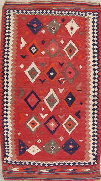 Red Geometric Kilim Shiraz Persian Area Rug 4x8