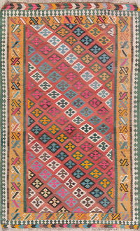 Pink Geometric Kilim Shiraz Persian Area Rug 5x8