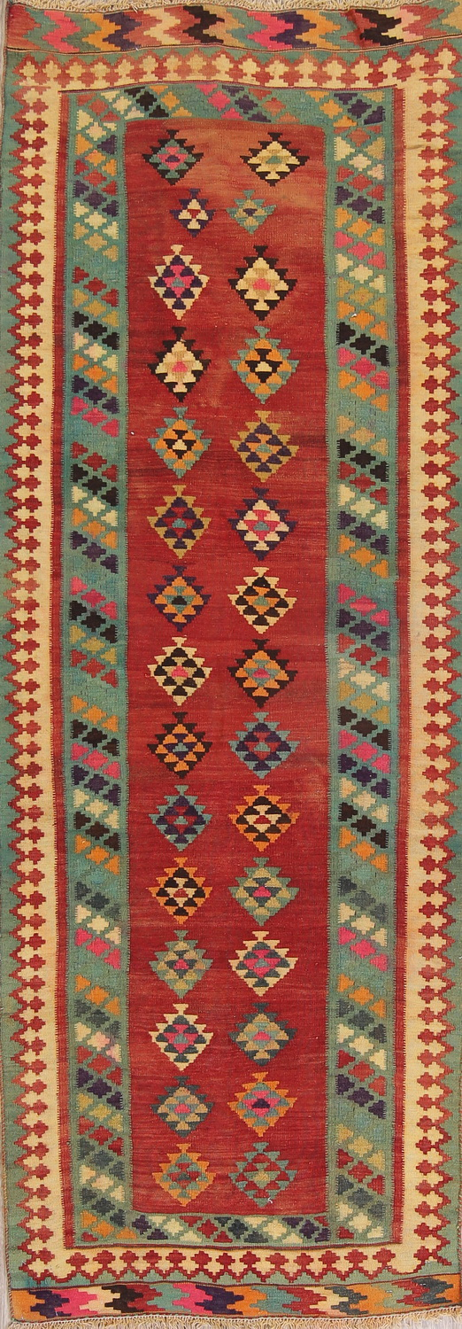 Red Geometric Kilim Shiraz Persian Runner Rug 3x9
