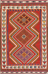 Orange Geometric Kilim Shiraz Persian Area Rug 5x8