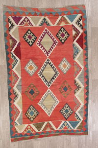 Geometric Kilim Shiraz Persian Area Rug 5X8