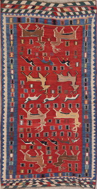 Animal Pictorial Kilim Shiraz Persian Runner Rug 5x9