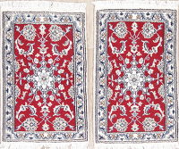 Pair of Two Red Floral Nain Persian Wool Rug 2x3